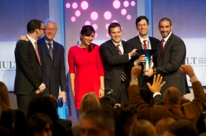 Aspire, Hult Prize 2013 winning team from Canada's McGill University with President Clinton
